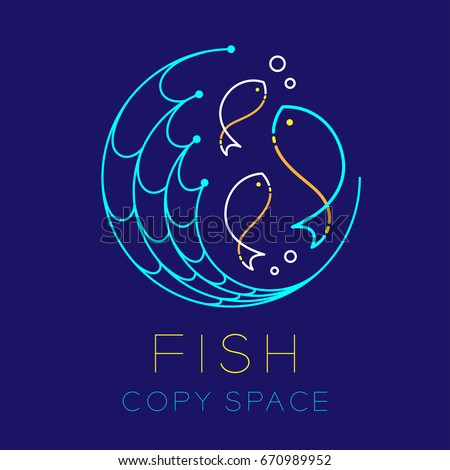 Fish, Fishing net circle shape and Air bubble logo icon outline stroke set dash line design illustration isolated on dark blue background with Fish text and copy space
