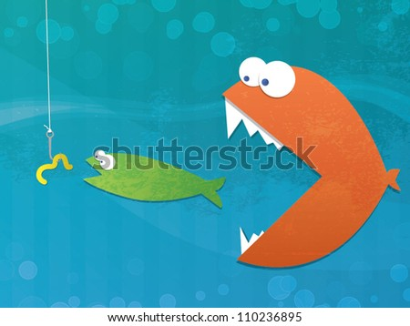 Fish Food Chain/Fully editable vector format with layers