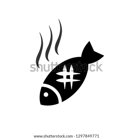 fish grilled icon on white
