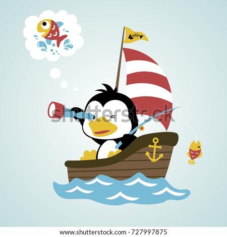 fish hunter penguin  vector