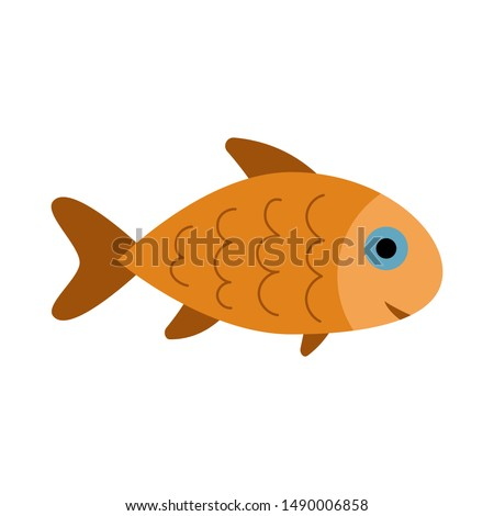 Fish icon isolated, aquarium fish silhouette illustration. Colorful cartoon flat aquarium fish icon for your design.