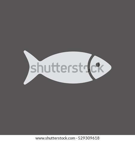 Fish Icon, isolated. Flat  design.