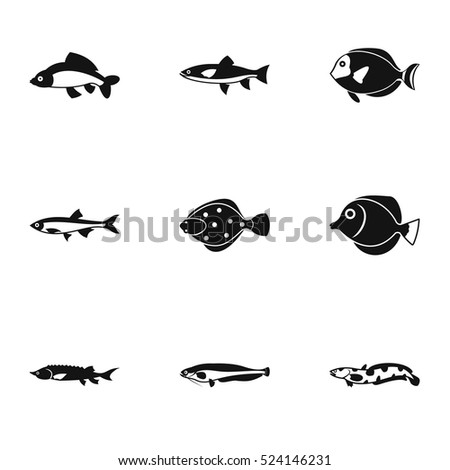 fish icons set simple