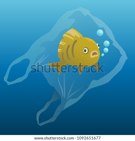fish in the plastic bag. plastic pollution illustration