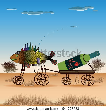 Fish is pulling a cart with a bottle of wine on the steppe. Vector illustration of paintings in the style of syurealizm Salvador Dali.