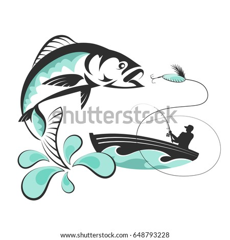 fish jumping for bait and a