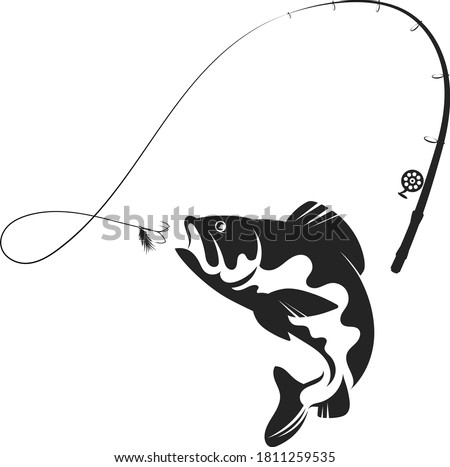 Fish jumping for bait and fishing rod silhouette Foto d'archivio ©