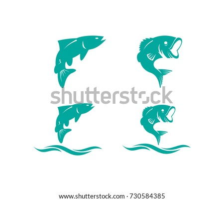 fish jumping over water logo