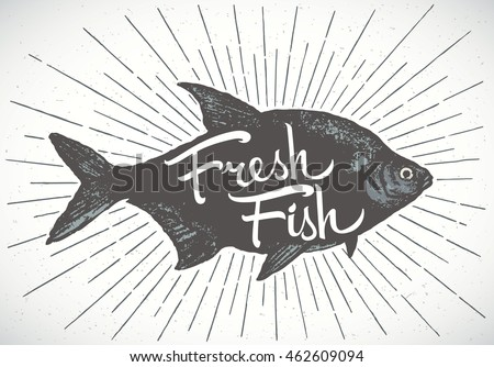 fish label  silhouette of a