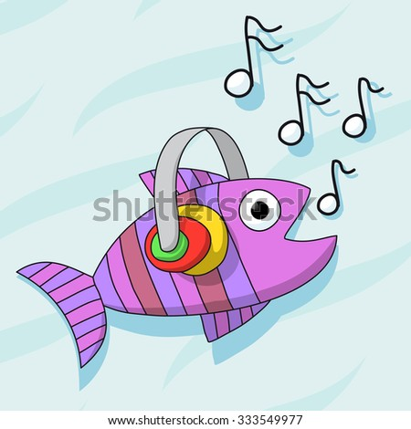 fish listening music with