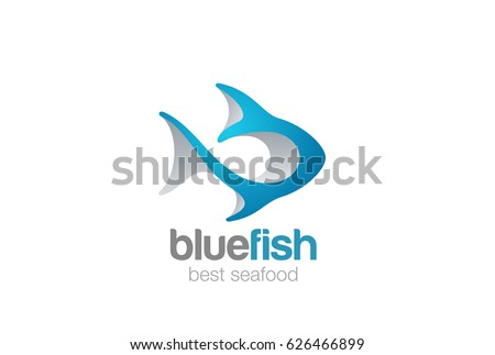 Fish Logo 3D abstract design vector template. Seafood restaurant menu, store, shop Logotype. Tuna concept icon