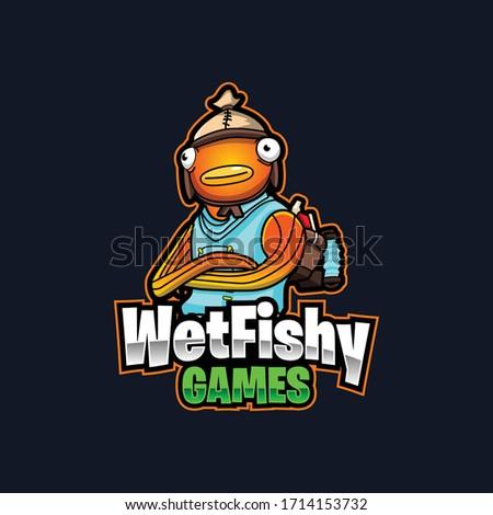 fish man mascot logo for gaming