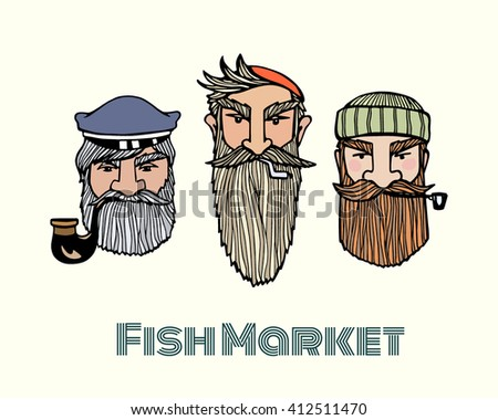 fish market poster with hand