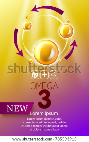 Fish oil ads template, omega-3 . oil drops 3D illustration. Realistic illustration vitamin natural, concept design.