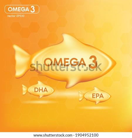Fish oil drop gold, vitamin D and omega 3 in Fish shape supplemental, benefits of pills improving mental, heart, eyes, bones health, lower cholesterol level. 3d vector