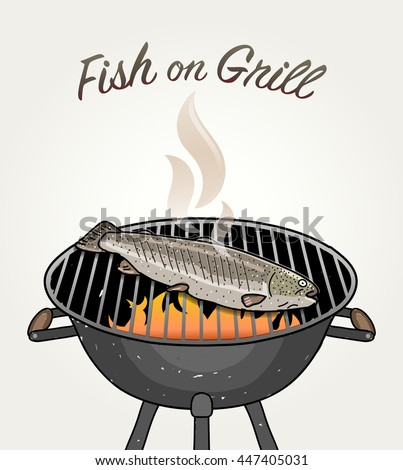 fish on grill   grilled trout
