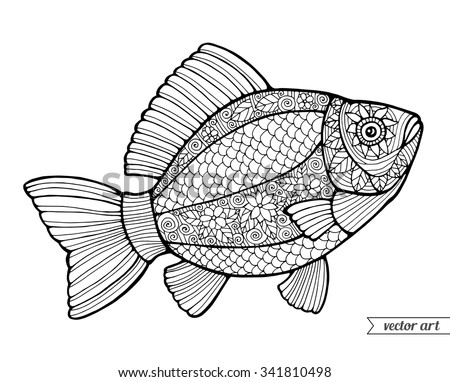 fish ornamental graphic fish floral line pattern vector zentangle coloring book