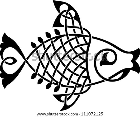 Fish ornate silhouette on a white background vector - stock vector