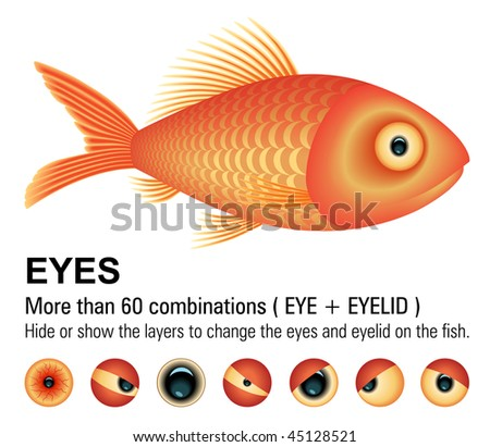 Fish overwhite (Vector Image). Change the eyes hiding or showing the layers. Add or remove details.