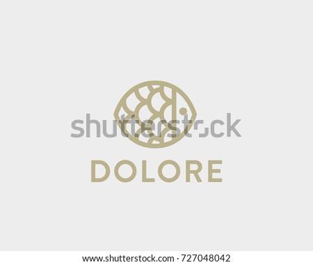 fish plate vector logotype