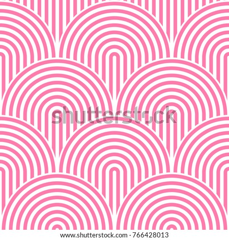Fish scale seamless pattern background. Abstract design element. Pink vector illustration of striped concentric circles.