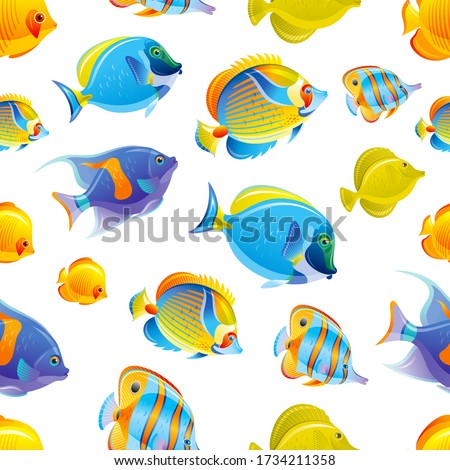Fish seamless pattern. Tropical Sea vector background. Watercolor ocean set. Underwater animal design. Coral reef fishes cute cartoon illustration. Blue color summer marine print. Deep water wallpaper stock photo