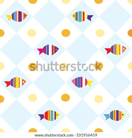 Fish seamless plaid pattern for kids