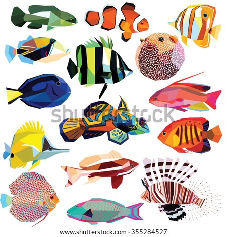 fish set colorful low poly
