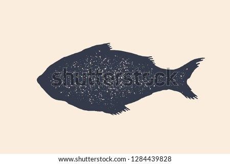 Fish, silhouette. Vintage logo, retro print, poster for Butchery meat shop, fish silhouette. Logo template for meat business, meat shop. Isolated black white silhouette fish. Vector Illustration stock photo