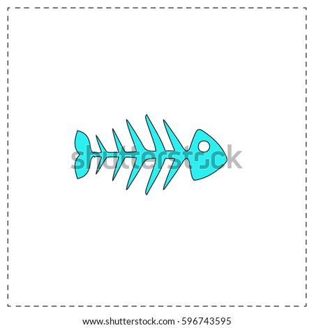 fish skeleton outline vector