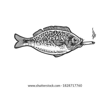 fish smokes a cigarette sketch