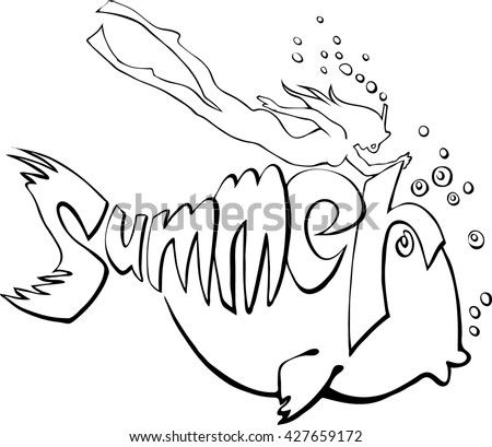 fish summer diver vector