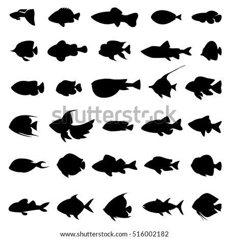 fish vector silhouettes black