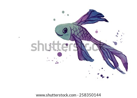 fish watercolor blue isolated