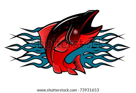Fish with tribal flames for tattoo design - also as emblem. Jpeg version also available in gallery