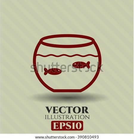 Fishbowl with Fish icon vector illustration