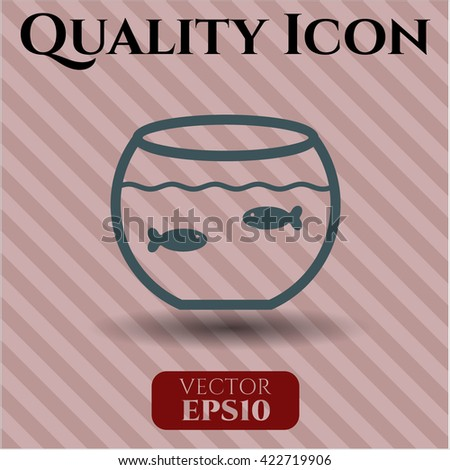 Fishbowl with Fish icon vector symbol flat eps jpg