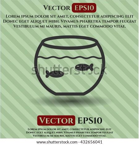 fishbowl with fish icon vector symbol flat eps jpg