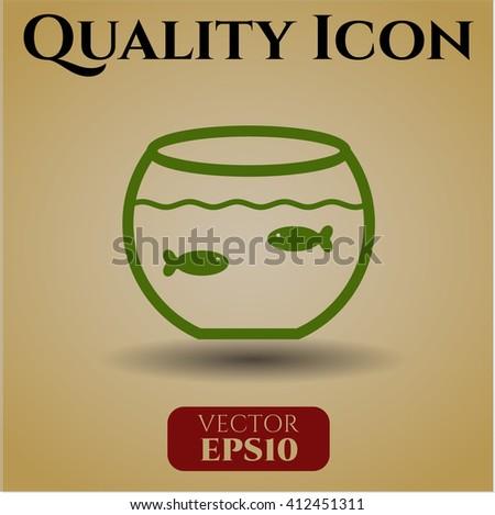 Fishbowl with Fish vector symbol
