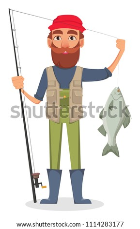 Fisher cartoon character. Fishermen holding fishing rod with caught fish. Vector illustration on white background