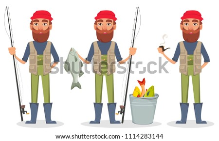 fisher cartoon character  set