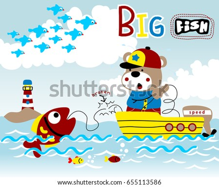 fisher on the boat get a big fish, vector cartoon illustration #655113586