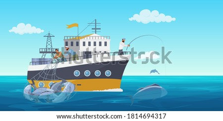 Fisher people in fishing vessel boat vector illustration. Cartoon flat commercial fishing industry background with fisherman working, catching fish seafood and using net. Ocean or sea nature landscape