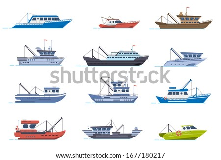 Fisherman boats. Fishing commercial ships, fisher sea boat for ocean water, shipping seafood industry boat isolated vector illustration set. Sea fishing, ship marine industry, fish boat