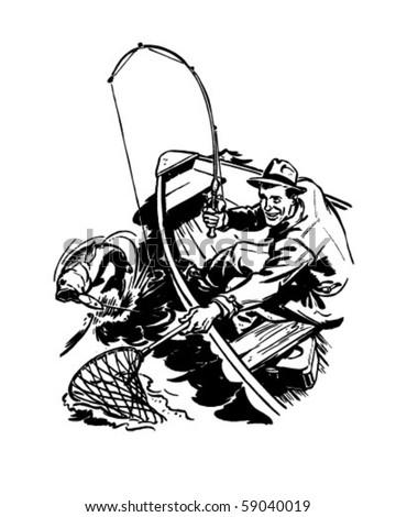 Fisherman Catching Fish - Retro Clip Art