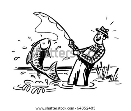 Fisherman Catching The Big One - Retro Clipart Illustration