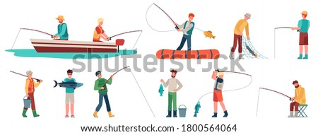 Fisherman. Fisher in boat with spinning, sportsman with fishing accessory and fish, catching fish sport and hobby, vector characters set. Men holding fish in net, bucket with water
