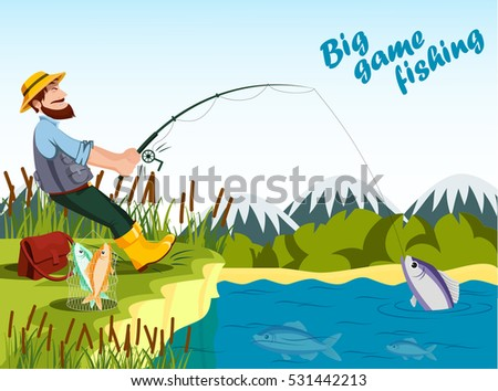 fisherman fishing at lake with