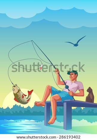 fisherman  fishing  pier cat