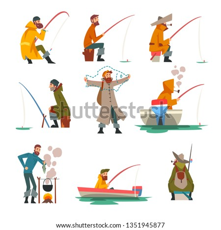 Fisherman Fishing with Fishing Rod and Cooking Soup on Bonfire Vector Illustration ストックフォト ©
